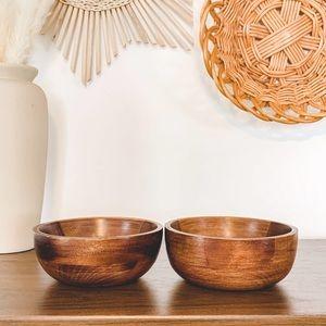 """Set of 2 Vintage Wooden 6"""" Salad Bowls Boho"""